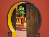 Reunion Island, St-Pierre, Chinese Temple Doorway Photographic Print by Walter Bibikow