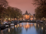 Kloveniers Burgwal Canal and Waag Historic Building, Nieuwmarkt, Amsterdam, Holland Photographic Print by Michele Falzone
