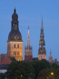 Dome Cathedral, St. Peter's, St. Saviour's Churches, Riga, Latvia Photographic Print by Doug Pearson