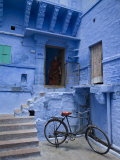 Traditional Blue Architechture, Jodhpur, Rajasthan, India Lámina fotográfica por Doug Pearson