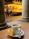 La Rambla, La Boqueria Market, Chocolate con Churros Breakfast, Barcelona, Spain Photographic Print by Alan Copson