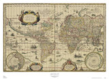 Explorer's World, c.1630 Prints by Willem Jansz Blau