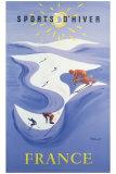 Talviurheilua Ranskassa, ranskaksi Giclee-vedos tekijänä Bernard Villemot