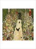 Garden Path with Chickens Reproduction procédé giclée par Gustav Klimt