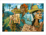Cubist Fruits of Latin Labor Giclee Print by Charles Glover