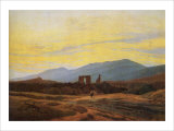 Ruins of Eldena Abbey and the Riesengebirge Giclee Print by Caspar David Friedrich