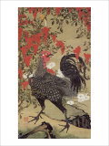 Japanese Rooster with Two Birds Giclée-tryk af Jyakuchu Ito