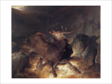 Deer and Deerhounds in a Mountain Torrent Giclee Print by Edwin Landseer