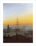 Ships in Greifswald Harbor Giclee Print by Caspar David Friedrich
