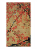 Two Birds Meet Up on the Maple Tree Impression giclée par Jyakuchu Ito