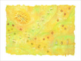 Shining Flower Garden on Yellow Japanese Paper Giclee Print by Miyuki Hasekura