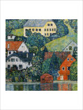 Houses at Unterach on the Attersee Giclee Print by Gustav Klimt