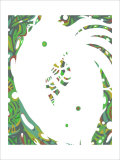 Color Melody: July Energetic Leaf and Fresh Green Light and the Dripping Giclee Print by Kyo Nakayama