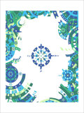 Color Melody: Blue Image and Life of People Machine Cogwheel Giclee Print by Kyo Nakayama