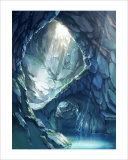 Blue Color Cave of Mysterious Light Giclee Print by Kyo Nakayama
