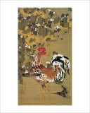 Japanese Rooster under the Grape Tree Giclee Print by Jyakuchu Ito