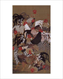Japanese Rooster with Sunflower in Summer Impressão giclée por Jyakuchu Ito