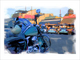 Blue Motorcycle, Venice Beach, California Giclee Print by Nicolas Hugo