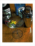 Martini with Two Olives on the Wood Table Giclee Print by Steve Ash