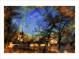 Notre-Dame over La Seine, Paris, France Giclee Print by Nicolas Hugo