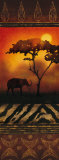 Elephant at Sunset Prints by Nicola Rabbett