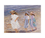 Walk at the Sea Print by Hélène Léveillée