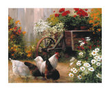 Hens in the Garden Prints by Lise Auger