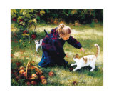 Little Friends with Apples Prints by Lise Auger