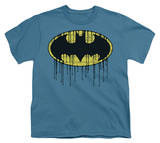 Youth: Batman - Dripping Brick Wall Shield T-Shirt