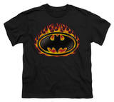 Youth: Batman - Bat Flames Shield T-Shirt