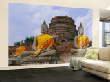 Statues of Buddha in a Temple, Thailand Wall Mural – Large