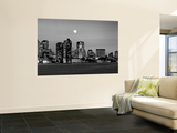 Black and White Skyline at Night, Boston, Massachusetts, USA Mural