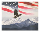 Eagle And Flag With Mountain Giclee Print by Glenn Ledford