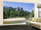 Sandbar in Merced River, Yosemite National Park, California, USA Wall Mural – Large