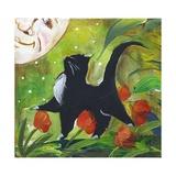 Tuxedo Cat With Moonface & Tulips Posters por sylvia pimental