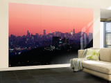 Buildings Lit Up at Dusk, Manhattan, New York, USA Gran mural