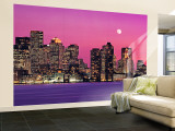 Urban Skyline by the Shore at Night, Boston, Massachusetts, USA Gran mural