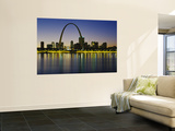 City Lit Up at Night, Gateway Arch, Mississippi River, St. Louis, Missouri, USA Wall Mural