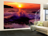 Wave Breaking on Rocks, Bempton, Yorkshire, England, United Kingdom Wall Mural – Large