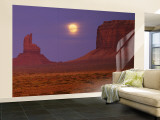 Moon Shining over Rock Formations, Monument Valley Tribal Park, Arizona, USA Wall Mural – Large