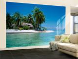 Palm Trees on the Beach, Tikehau, French Polynesia Reproduction murale XXL