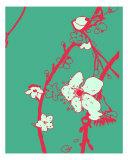 Pink N Aqua Cherry Blossom Photographic Print by Estela Lugo