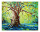 Bluebonnets Under The Oak Tree Giclee Print by David G. Paul