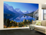 Mountains Reflected in Lake, Glacier National Park, Montana, USA Wall Mural – Large