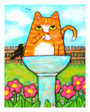 Tabby Cat In The Bird Bath Giclee Print by Jamie Edwards