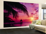 Sunset, Palm Trees, Beach, Water, Ocean, Montego Bay Jamaica Wall Mural  Large