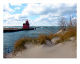 Holland Harbor Lighthouse-Big Red-Lake Michigan Photographic Print by Michelle Calkins