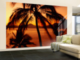 Silhouette of Palm Trees at Dusk, Manzanillo, Mexico Wall Mural – Large