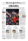 New York Times, Nov. 5, 2008: OBAMA, Racial Barrier Falls in Decisive Victory Giclee Print