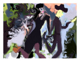 Dancers In Black Giclee Print by Alma Aguado